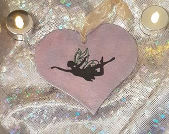 Heart shapes in purple metallic with purple glitter or pink/purple fairy heart