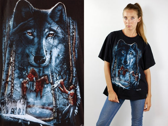 Wolf T-Shirt Nostalgic Native American T-Shirt Magic Wolf Shirt Band Shirt Black Vintage T-Shirt Wolf Biker T-Shirt Retro Trucker Shirt