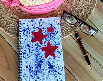 Hand Painted Cover; Spiral Notebook, Sketchbook; Premium Unlined Paper for Visual Journal; Writing, Sketching, Doodling; Red Stars