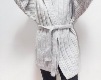 Light Blue Grey Oversized Striped Chunky Knit Sweater Cardigan Tie Waist Thick Warm Fluffy Fuzzy Small Medium Large One Size
