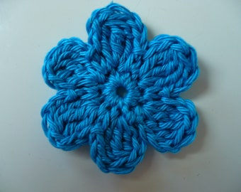 crocheted blue flower, sewing or craft, applique crochet flower applique, applique