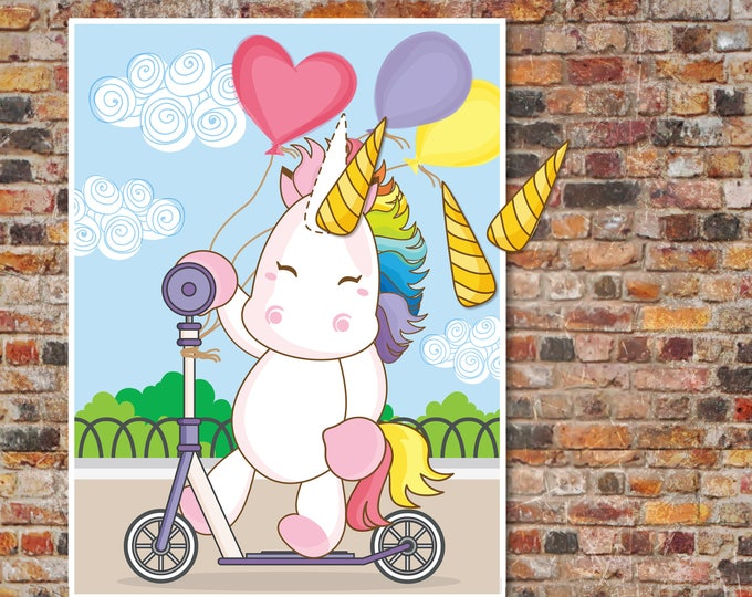 Unicorn Party - Pin the Horn on the Unicorn Game - Magical Unicorn Party, Birthday Party, Rainbow - INSTANT Download PDF - Printable Game