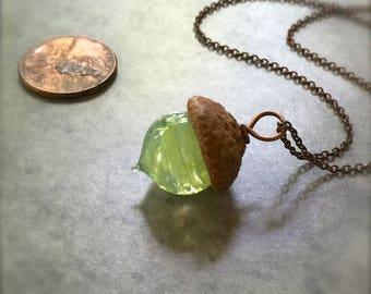 Glass Autumn Acorn Necklace - Celery Swirl - by Bullseyebeads