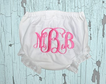 """Monogrammed diaper cover bloomer with """"M674"""" font"""