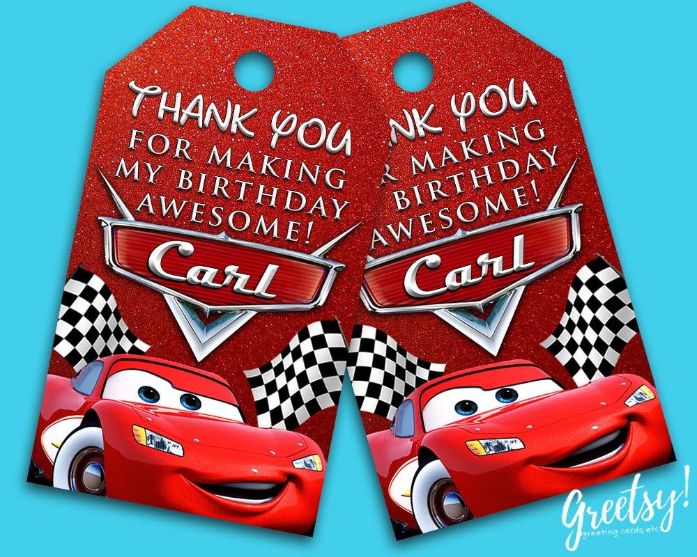 Car Tags: Disney Cars Thank You Tags Disney Cars Birthday Favor Tags