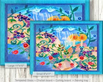 SHABBAT Challah board - Custom personalized tray board - Glass Shabbat Board - Glass cutting board - Jewish Judaica Art - Jewish Home Gift