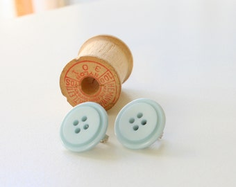 CLEARANCE Clip on Earrings, Blue Button Earrings, Silver Clip on Earrings, Button Earrings, Light Blue Earrings, Button Clip Earrings