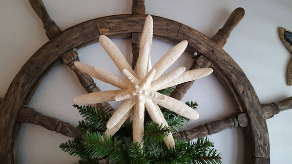 FREE SHIPPING Natural Starfish Tree Topper Beach Decor