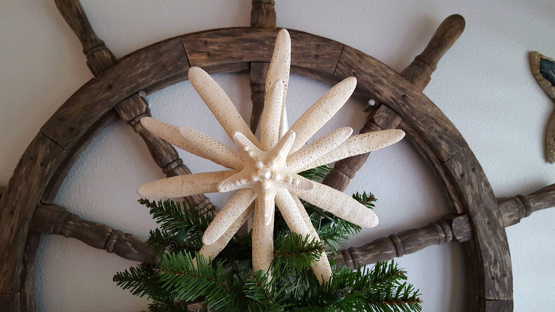 FREE SHIPPING Natural Starfish Tree Topper Beach Decor
