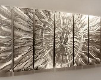 HUGE SALE! Contemporary Silver Wall Sculpture, Modern Metal Wall Art, Home Decor, Metallic Hanging - Eye of the Storm by Jon Allen