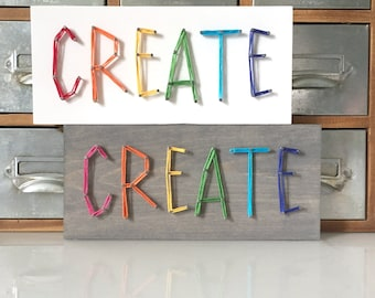 MADE TO ORDER String Art Whimsical 'Create' Single Line Strung Sign, Mini Block