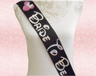 Custom Disney Inspired Bride To Be Sash Choose Colors, Graphic Wording Girls Night Out Bachelorette , Disney Sash Birthday Princess