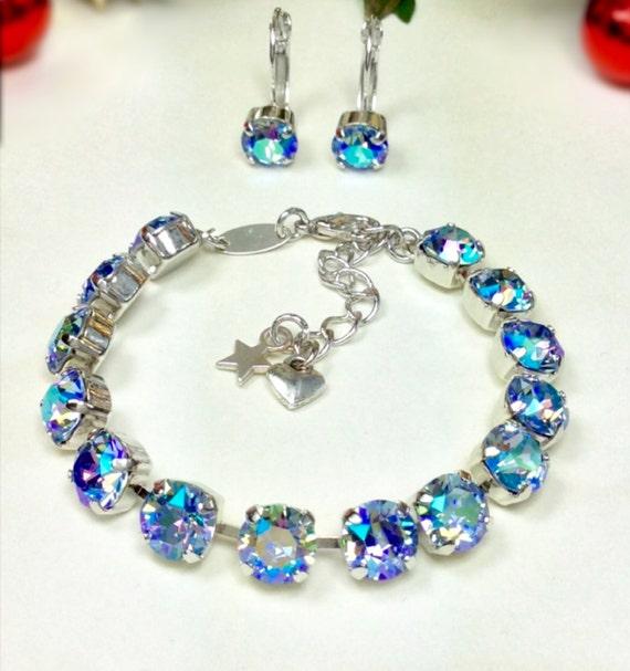 Swarovski Crystal 8.5mm Bracelet & Earring Set - Radiant Light Sapphire AB Shimmer Bracelet and Earrings   Designer Inspired - FREE SHIPPING
