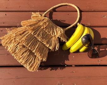 vintage straw purse, straw bag, woven, fringed, boho, beach, festival bag, hawaiian straw bag - 90s