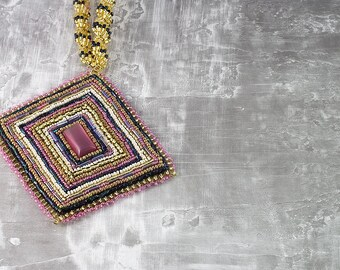 Embroidered, Seed Bead Necklace, Art Deco Necklace, Beaded Necklace, Geometric Necklace, Beaded Jewelry, Statement