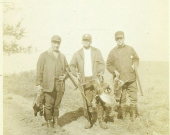 Pheasant Hunters Men Holding Guns and Birds Hunt Hunting 1920s Antique Photo Vintage Black and White Photograph