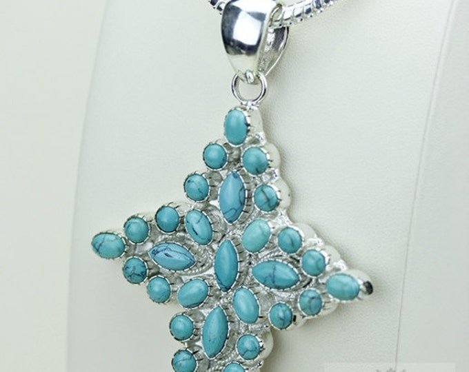 Multi Layered TURQUOISE CROSS 925 S0LID Sterling Silver Pendant + 4MM Snake Chain & Free Worldwide Shipping P3489