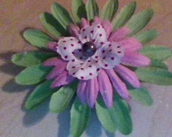medium green pink and white bow