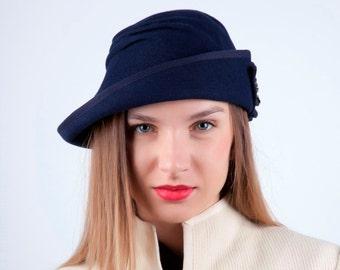 Dark bleu fur felt hat, Royal winter hat, Chic winter hat, Retro rabbit hat, Downton abbey hat, cloche hat