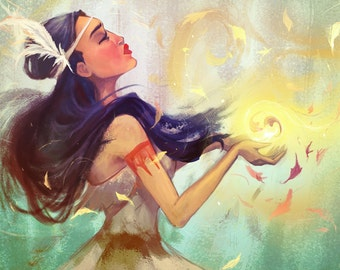 Pocahontas Art Illustration Print