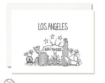 Los Angeles Black and White Illustration Card - Handmade - Set of 10 - A2 Blank