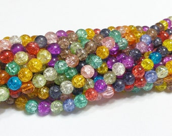 Crackle Glass Beads - 8mm - Multicolor - One Strand - Approx. 48 Beads