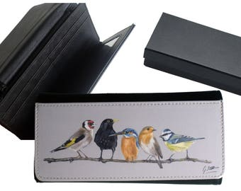 Row Of Garden Birds Country Themed Purse With Gift Box By Artist Grace Scott