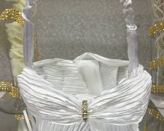 White Wedding Satin Flower Girl Basket with Rhinestones