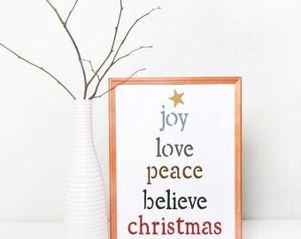 Joy Love Peace Craft Stencil by Crafty Stencils