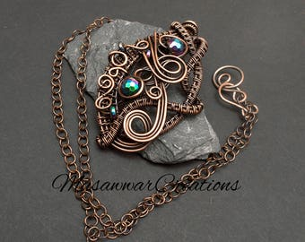 Statement necklace,antique copper wire wrapped necklace,Pendant,hematite necklace