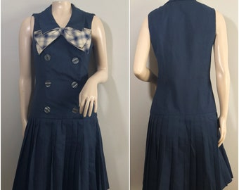 1960s Navy Blue Dress with Plaid Bow and Pleated Skirt by Alison Ayers, Franklin Simon New York