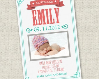 Retro Birth Announcement (Girl)