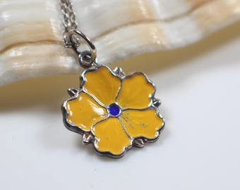 Yellow Enamel Small Flower Pendant on Silver 925 Stamped Chain Necklace