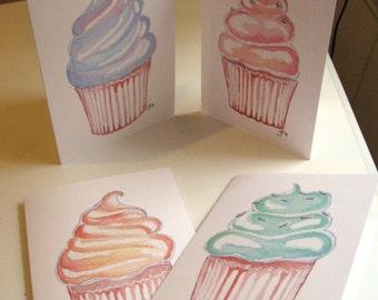 Cupcake Birthday Cards Set, Art Birthday Greeting Cards, Set of 8