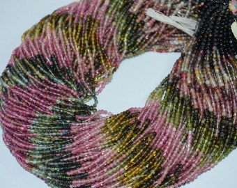 2.5 mm Multi Tourmaline Smooth Round ,14 inch Strand