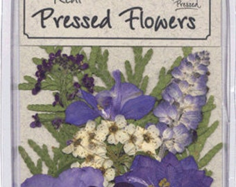 Blue and Purple flowers with greenery - 10 pieces