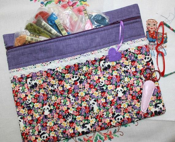 Peek a Boo Pandas on Purple Cross Stitch Project Bag