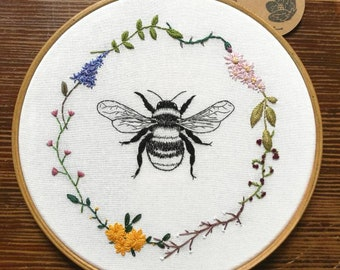Hand Embroidered Hoop - 8 inch hoop - Bee and Flowers