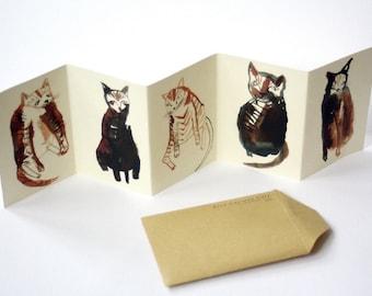 Mini cat zine concertina book    FIVE CURIOUS CATS