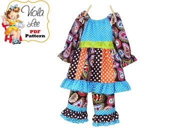 Toddler Ruffle Pant SET, Girls Sewing Pattern. Toddler Peasant Dress Pattern pdf. Girls Top, Ruffle Pants Pattern. PDF Download. Harper-Nina