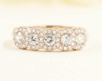 Diamond Halo Wedding Band.Cluster Diamond Ring. Bridal Wedding Ring. 0.77Ct Diamond Halo Matching Wedding Band.Rose Gold Diamond Band