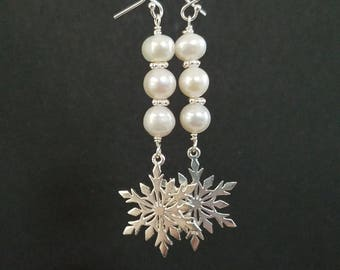 Pearl and Sterling Silver Snowflake Dangle Earrings