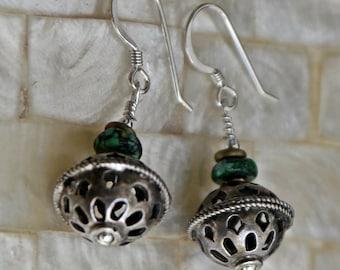 Antique Yemeni Sterling Silver Bead Dangle Earrings