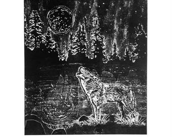 Wolf Collagraph Print