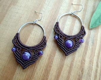 Amethyst macrame earrings, micro macrame, hoop earrings, macrame jewelry, tribal earrings, amethyst jewelry, gemstone earrings