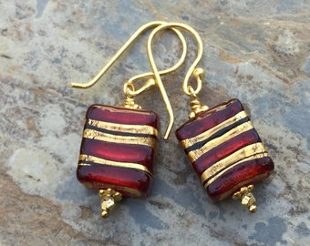 Red and Gold Czech Glass Earrings, Artisan Earrings, 1.5 inches long