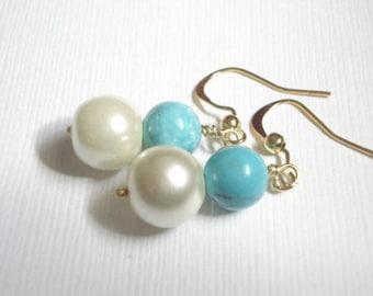 Pearl Earrlings Bridesmaid Earrings Turquoise and Pearl Earrings Bridesmaids Jewelry