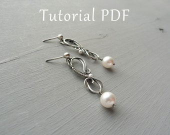 Jewelry tutorial DIY project - Sterling silver earrings tutorial - Tutorial wire wrapped earrings