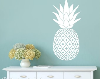 Pineapple Wall Decal, Hawaiian Fruit, Kitchen Wall Decor, Foodie Sticker, Restaurant Design, Cafe Vinyl Decal, Kids Room, Living Room KF-103