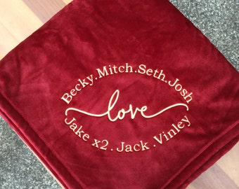 Personalized Embroidered Plush Throw Blanket / Grandparents / Mom /Graduation/ Grandma/Family / Circle of  Love
